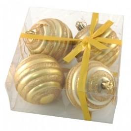 Комплект златисти релефни коледни топки за окачване на елха, декорирани с брокат