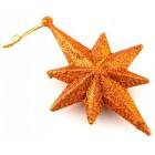 Блестящи коледни звездички за окачване на елха - в комплект от три броя