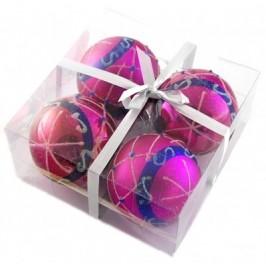 Комплект цветни коледни топки за окачване на елха, аранжирани с брокат