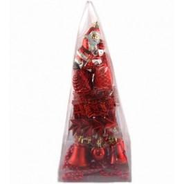 Коледен комплект от 31 броя червени фигурки за окачване на елха