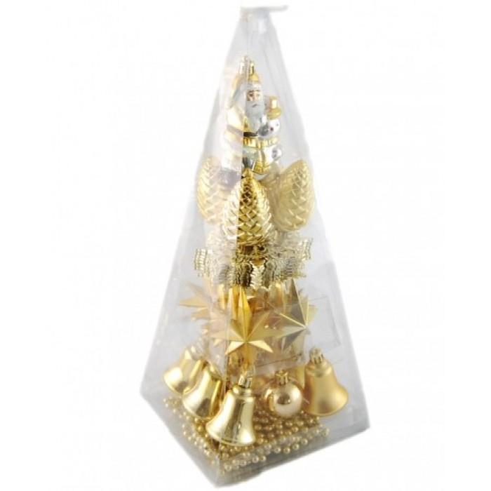 Коледен комплект от 31 броя златисти фигури за окачване на елха
