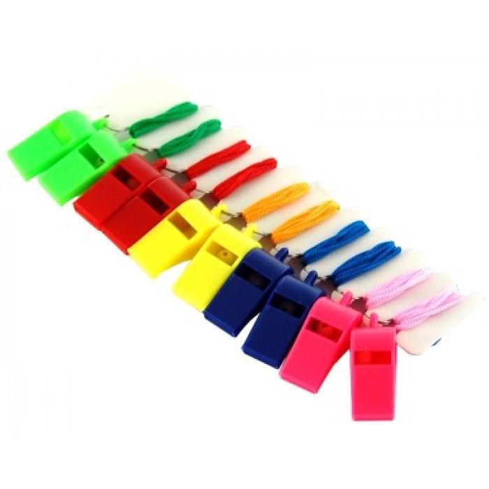 Пластмасова цветна свирка с топче и връзка за врат