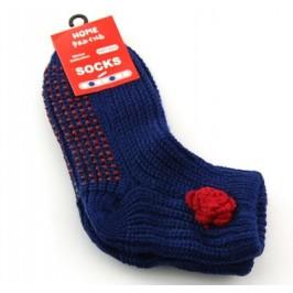 Плетени зимни чорапи с декорация и гумирана подметка
