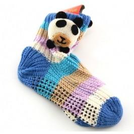Плетени детски чорапи с декорация и гумирана подметка