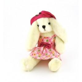 Красива плюшена фигурка - зайче с модерна шапка и ролкя с панделка - 23см
