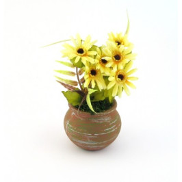 Декоративни цветя от плат в саксия керамика