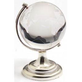 Декоративен глобус от стъкло със сребриста поставка
