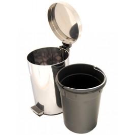 Метален кош за отпадъци - гланц, с пластмасова кофа с дръжка - 12л