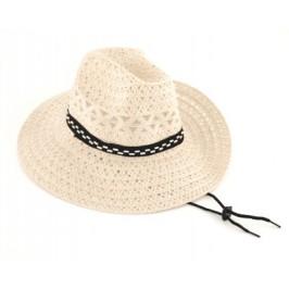 Плетена лятна шапка с текстилен кант и регулиращи връзки
