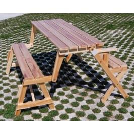 Мултифункционална градинска мебел - сгъваема дървена маса с пейки, трансформираща се в пейка