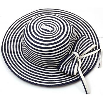 Красива двуцветна шапка от текстил с голяма периферия
