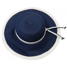 Красива дамска плетена шапка с периферия - синя