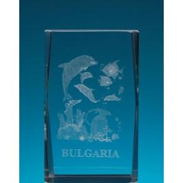 Безцветен стъклен куб с триизмерно гравирани три делфина и рибки
