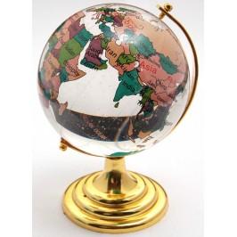 Декоративен, цветен глобус от стъкло със златиста поставка