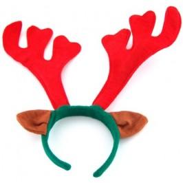 Коледна диадема еленови рога в зелено и червено, с ушички