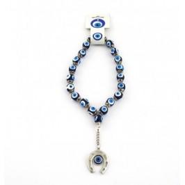 Сувенир синьо стъклено око - броеница