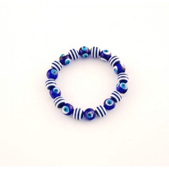 Сувенир синьо стъклено око - гривна на ластична основа