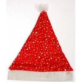 Коледна шапка от кадифе и полар, декорирана с брокатени звездички