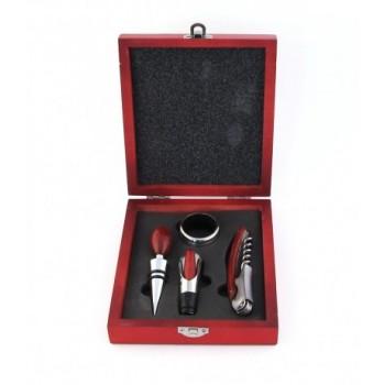 Луксозен комплект за вино от четири части в дървена кутия - тирбушон, тапа, ринг и лиек (приспособление за наливане)