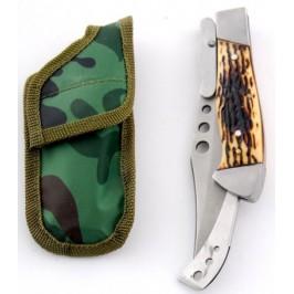 Сгъваем джобен нож с автоматично отваряне, калъф и предпазител