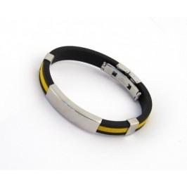 Гривна черен силикон с един цветен кант и метални декоративни елементи