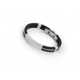 Гривна черен силикон със стоманено въже и метални декоративни елементи