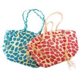 Плетена цветна лятна чанта с декоративни ресни - 32х50см