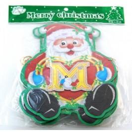 Коледен гирлянд от 14 картонени фигурки с двустранен цветен принт - Дядо Коледа, изписващи Merry Christmas