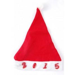 Коледна шапка от полар в бяло и червено със светещи декоративни цифри - 2015