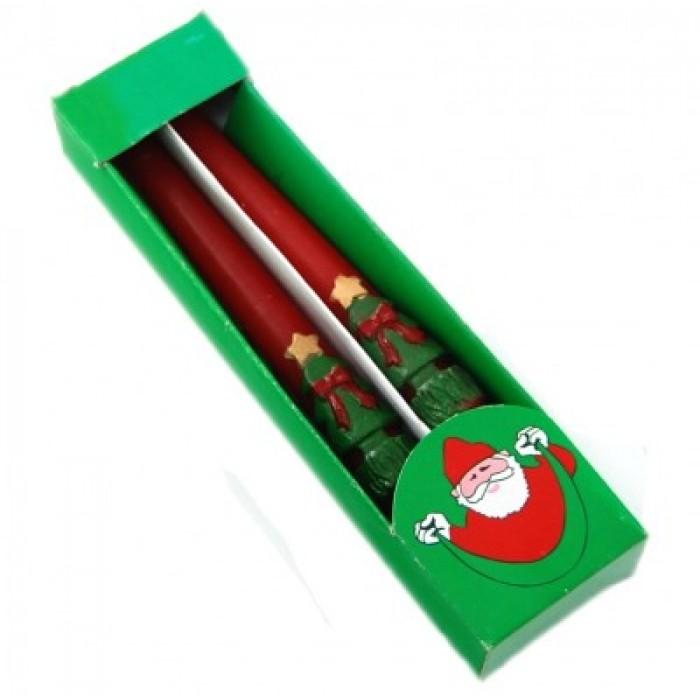 Красив комплект от два броя цветни коледни свещи с декорации в кутия