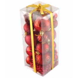 Коледен комплект от 28 броя червени фигурки за окачване на елха