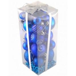 Коледен комплект от 28 броя сини фигурки за окачване на елха