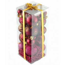 Коледен комплект от 28 броя фигурки за окачване на елха - цвят бордо
