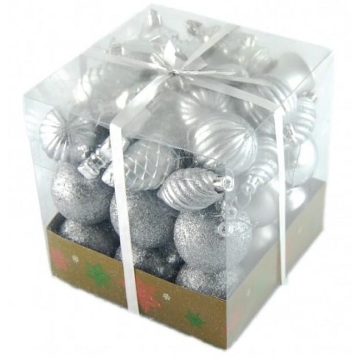 Коледен комплект от 44 броя сребристи фигурки за окачване на елха