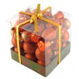 Коледен комплект от 44 броя оранжеви фигурки за окачване на елха