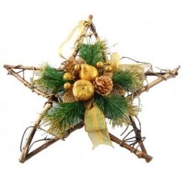 Стилна коледна украса от сплетени дървени клонки във форма на звезда - 41х41см