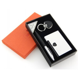 Луксозен подаръчен комплект от химикал визитник и ключодържател