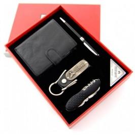 Луксозен подаръчен комплект съдържащ химикалка, портфейл, ключодържател и мултифункционално джобно ножче