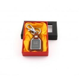Ключодържател метал и кожа Honda в луксозна кутия