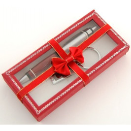 Луксозен подаръчен комплект писалка и ключодържател