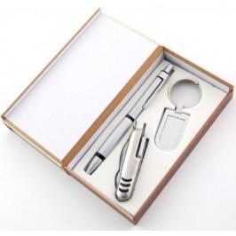 Луксозен подаръчен комплект ключодържател,химикал и мултифунционанлно джобно ножче