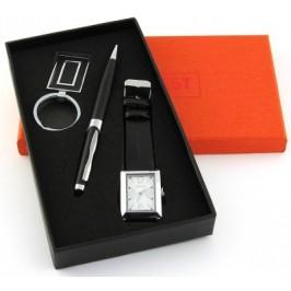 Луксозен подаръчен комплект писалка ключодържател и часовник