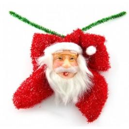 Коледна декорация за окачване на елха - Дядо Коледа върху блестяща червена панделка