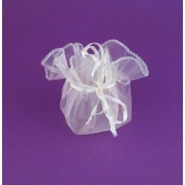 Луксозна подаръчна торбичка тюл -бяло, със сатенена панделка