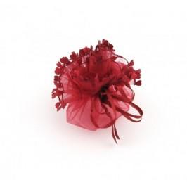 Луксозна подаръчна торбичка тюл - червена, със сатенена панделка и декоративни сърца