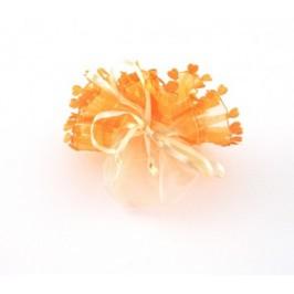 Луксозна подаръчна торбичка тюл оранжева - , със сатенена панделка и декоративни сърца