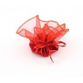 Луксозна подаръчна торбичка тюл - червена, със сатенена панделка