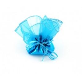 Луксозна подаръчна торбичка тюл - син, със сатенена панделка