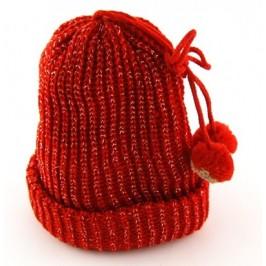 Плетена зимна шапка с пискюли