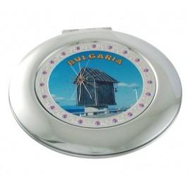 Сувенирно джобно огледало метал, декоративно капаче с лазерна инкрустация - Несебър